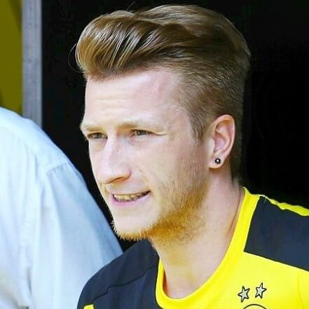 Marco Reus Medium-Length Side Part with Low Fade haircut