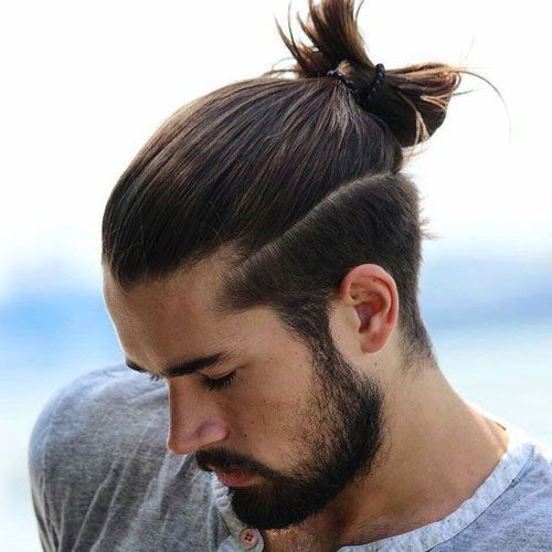 Man Ponytail on Top of Head
